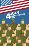 4th july. American independence day. Soldiers in Green Berets. Special forces. American flag. Vector  congratulations card Royalty Free Stock Images