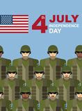 4th july. American independence day. Soldiers with military camouflage uniform in army formation. Vector greeting card congratulations vector illustration