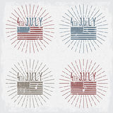 4th july american independence day  vector illustration se. 4th july american independence day grunge vector illustration set Stock Photo