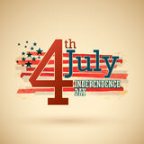 4th of July. American independence day vector.Retro style Royalty Free Stock Photos