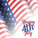 4th July background with American flag. And glitter Royalty Free Stock Photo