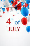 4th July background with balloons. USA Independence Day background with flags and balloons. Vector illustration Royalty Free Stock Photo