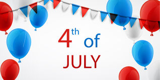 4th July background with balloons. USA Independence Day background with flags and balloons. Vector illustration Royalty Free Stock Photography