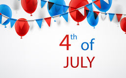 4th July background with balloons. USA Independence Day background with flags and balloons. Vector illustration Stock Photography