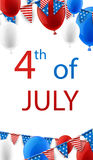 4th July background with balloons. USA Independence Day background with flags and balloons. Vector paper illustration Stock Image