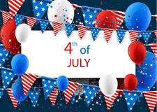 4th July background with balloons. USA Independence Day background with flags and balloons. Vector paper illustration Royalty Free Stock Images