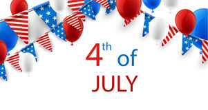 4th July background with balloons. USA Independence Day background with flags and balloons. Vector paper illustration Stock Images