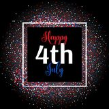 4th july confetti background. 4th July background with colourful confetti royalty free illustration