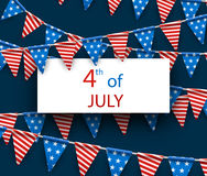 4th July background with flags. Stock Images