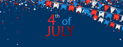 4th July background with flags. Blue USA Independence Day background with flags and stars. Vector illustration royalty free illustration