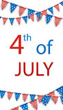 4th July background with flags. Royalty Free Stock Photo