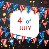 4th July background with flags. Royalty Free Stock Images