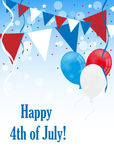 4th of july background. 4th of july or Independence day background with balloons, flags,stars and ribbons against blue sky. EPS file available Royalty Free Stock Photography