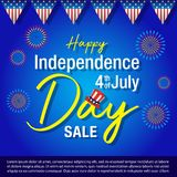4th of july background,Independence day of United States of America  Background. Vector illustration of Uncle Sam hat, firework and text on blue background Royalty Free Stock Photography
