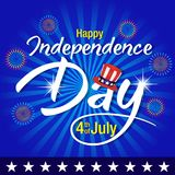 4th of july background,Independence day of United States of America  Background. Vector illustration of Uncle Sam hat, firework and text on blue background Stock Photo