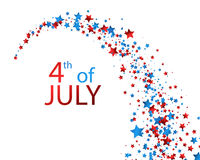 4th July background with stars. White Independence Day background with colorful stars. Vector paper illustration Stock Photos