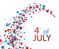 4th July background with stars. White Independence Day background with colorful stars. Vector paper illustration Royalty Free Stock Images