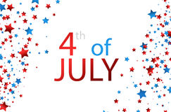 4th July background with stars. White USA Independence Day background with colorful stars. Vector paper illustration Royalty Free Stock Photos