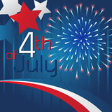 4th of July Background Template Design. Blue background with stars and fireworks design of 4 th of July vector illustration