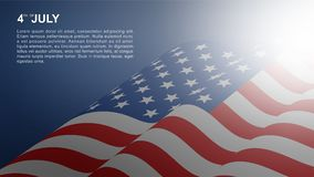 4th of July background for USA Independence Day. 4th of July background for USAUnited States of America Independence Day with USA flag and soft light effect royalty free illustration