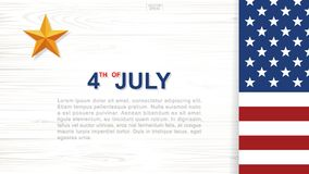 4th of July - Background for USA Independence Day with wood texture background. 4th of July - Background for USAUnited States of America Independence Day with Royalty Free Stock Photography