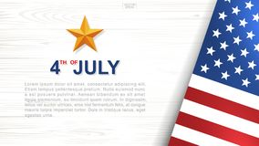 4th of July - Background for USA Independence Day with wood texture background. 4th of July - Background for USAUnited States of America Independence Day with royalty free illustration