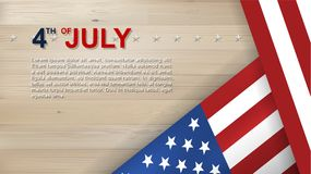 4th of July background for USAUnited States of America Independence Day. With wood texture background and American flag. Vector illustration royalty free illustration