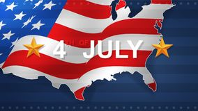 4th of July background for USAUnited States of America Independence Day. 4th of July background for USAUnited States of America Independence Day with USA map royalty free illustration