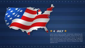 4th of July background for USAUnited States of America Independence Day. With USA map and american flag pattern. Vector illustration stock illustration