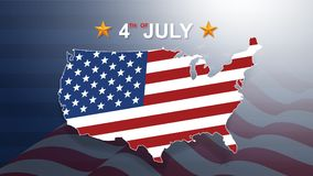4th of July background for USAUnited States of America Independence Day. 4th of July background for USAUnited States of America Independence Day with USA map stock illustration