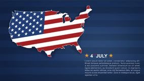 4th of July background for USAUnited States of America Independence Day. With USA map and american flag pattern. Vector illustration vector illustration