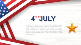 4th of July - Background for USA Independence Day with wood texture background. 4th of July - Background for USAUnited States of America Independence Day with vector illustration