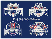 4th of July Badge logo collection for USA independence day. Celebration party Vector Illustration
