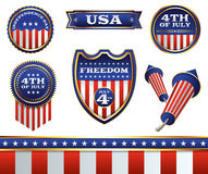 4th of July Badges and Elements Illustration Stock Photos