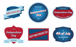 4th of July badges. Patriotic Independence Day badges with vintage style vector illustration
