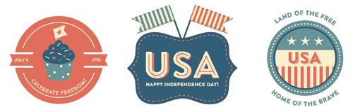 4th of July badges. USA Patriotic Independence Day badges with vintage style. They read Celebrate Freedom, Happy Independence Day! and Land of the free, home of Stock Photography