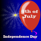 4th July Balloon. Firework and balloon with 4th July message Royalty Free Stock Photography