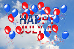 4th of July balloons. Red and blue balloons in sky for 4th of July Stock Photography