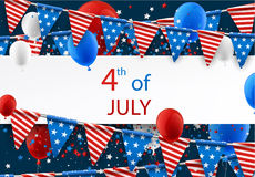 4th July banner with balloons. USA Independence Day banner with flags, stars and balloons. Vector paper illustration Stock Photo