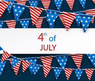 4th July banner with flags. Blue USA Independence Day banner with American flags. Vector paper illustration Royalty Free Stock Images