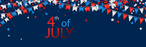 4th July banner with flags. Blue USA Independence Day banner with flags and stars. Vector illustration stock illustration