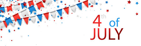 4th July banner with flags. White USA Independence Day banner with flags and stars. Vector illustration vector illustration