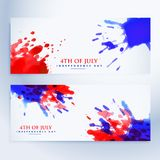 4th of july banners with ink splashes. Vector Stock Photo