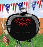 4th of July BBQ Invitation Backyard. With grass and fence and American Bunting Flags weber stock illustration