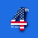 4th of july on blue background. Vector illustration of 4th of july on blue background Royalty Free Stock Photo