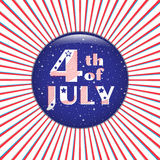 4th of July. Blue badge on a red radial background. Stock Image