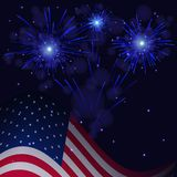 4th of July blue fireworks and flag. United States flag and celebration blue fireworks vector background. Independence Day, 4th of July holidays salute greeting Royalty Free Stock Image