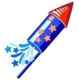 4th july blue rocket. In over white Vector Illustration