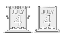 4th of July calendar day icon, desktop statuette. US Independence Day. Vector. Illustration Royalty Free Stock Photo