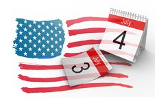 4th of July Calendar with drawn american flag. Digital composite of 4th of July Calendar with drawn american flag Stock Photo